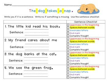 Writing Sentences for Beginners