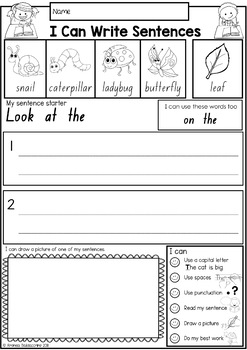 Writing Sentences for Beginning Writers  NO PREP Worksheets