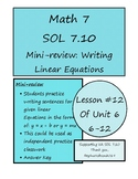 Writing Sentences for Linear Equations y = mx and y = x + b Math 7 VA SOL 7.10