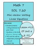 Math 7 Virginia VA SOL 7.10 Writing Linear Equations y = mx and y = x + b