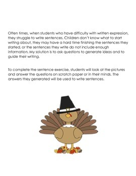 Writing Sentences for Struggling Writers -Thanksgiving
