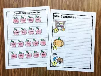 Fall Writing Sentences in Kindergarten and First Grade