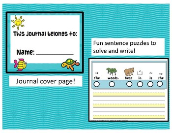 Writing Sentences journal:  Summer Themed Number and Write