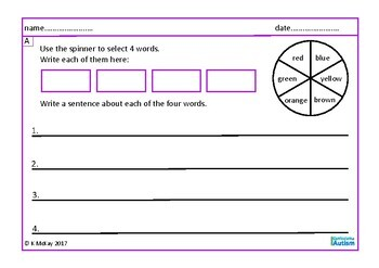 Writing Sentences with Adjectives, Autism, Special Education