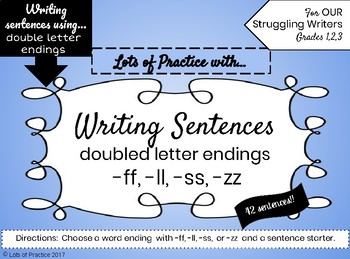 Writing Sentences with DOUBLE CONSONANT WORDS for Struggling Writers