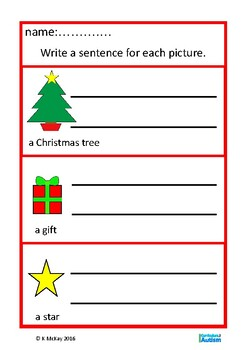 Christmas Writing Sentences with Visual Prompts,  Autism Special Education