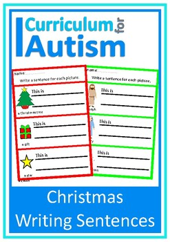 Christmas Writing Sentences with Visual Prompts,  Autism S
