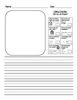 Writing Sheet - Editing Checklist