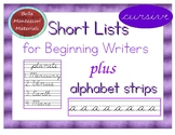 Writing Short Lists - Practice writing Cursive