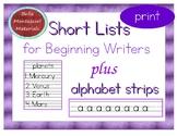 Writing Short Lists - Practice writing Print