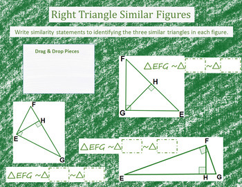 Writing Similarity Statement~Right Triangles~Google Drive Interactive Activity