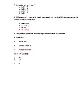 Writing Simple Expressions Quiz