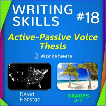 Writing Skills | Active-Passive Voice & Thesis - 2 Printable Worksheets