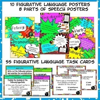 Writing Skills BUNDLE Activities, Posters and Task Cards Year 7 and 8
