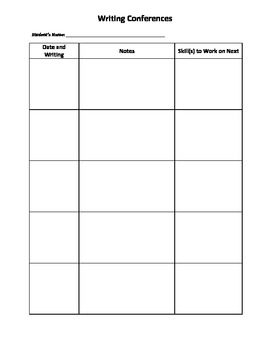 Writing Skills Checklist and Conference Form