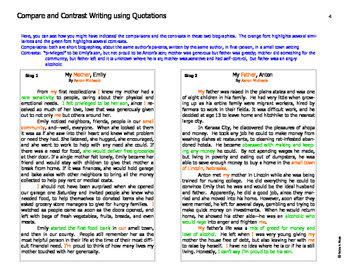Writing Skills: Compare and Contrast Using Quotations
