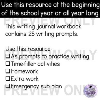 Engaging Writing Journal Prompts 3 (School and About You) for ESL/ELA students