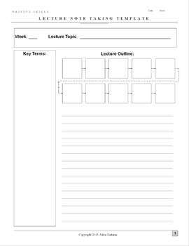 Note-taking Template and Instructional Guide: Works for Any Class!