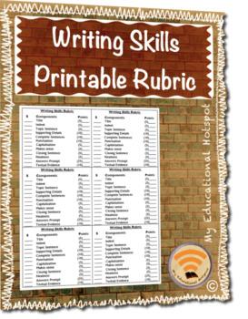 Writing Skills Printable Rubric
