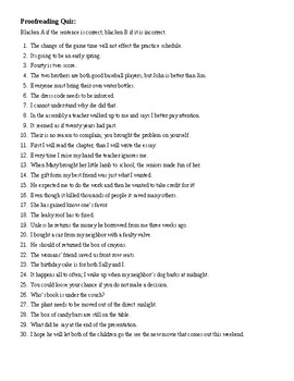 Writing Skills: Proofreading Quiz (30 q) and KEY