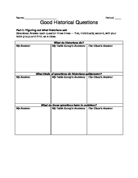 Writing Skills for High School History – Good Historical Questions