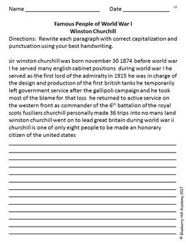 Writing Skills with World War I Information Bundle