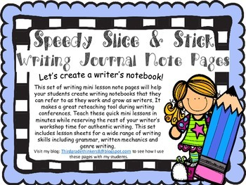 Writing Slice and Stick Note Sheets