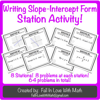 Writing Slope-Intercept Form Station Activity!