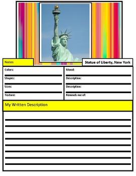Writing & Social Studies: Visualizing Sentences; U.S. Landmarks and Symbols