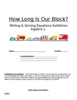 Writing & Solving 1-variable equations project