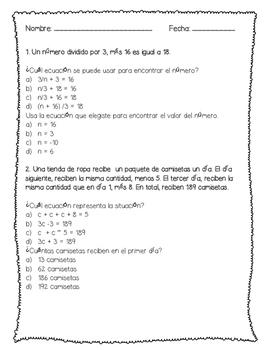 Writing & Solving Algebraic Equations Spanish: Ecuaciónes Algebraicas