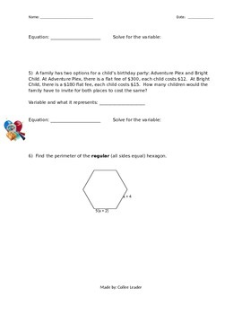 Writing & Solving Equations