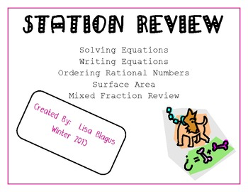 Writing & Solving Equations, Fractions, and Surface Area Stations