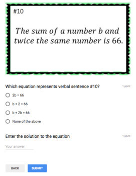 Writing & Solving Equations - (Google Form & Video Lesson!)