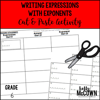 Writing Expressions with Exponents Cut & Paste Activity