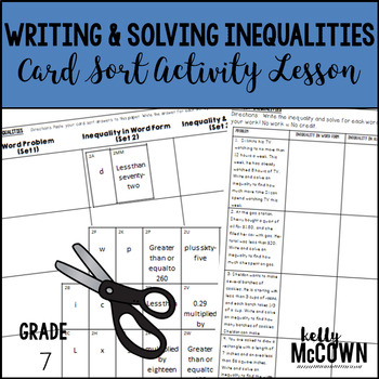 Writing & Solving Inequalities Card Sort Activity Lesson