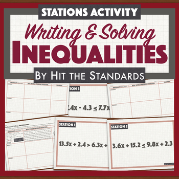 Solving Inequalities & Writing Real-World Problems Stations Drawing Activity.