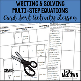 Writing & Solving Multi-Step Equations Card Sort Activity Lesson