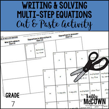 Writing & Solving Multi-Step Equations Cut & Paste Activity