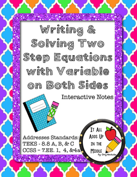 Writing & Solving Two-Step Equations with Variables on Both Sides