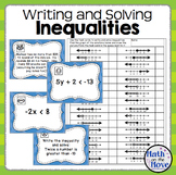 Inequalities (Writing, Solving and Graphing) - Task Card Activity