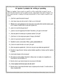 Writing & Speaking Prompts for Spanish 2