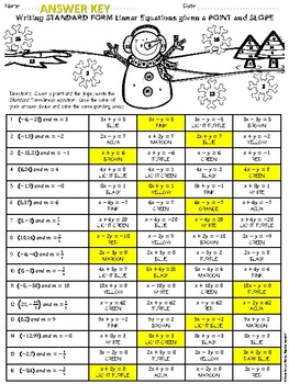 Christmas Algebra Writing Linear Equations In Standard Form W A
