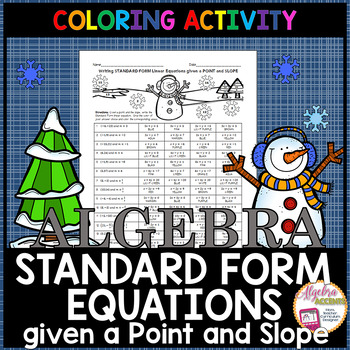 Christmas Algebra Writing Linear Equations In Standard Form