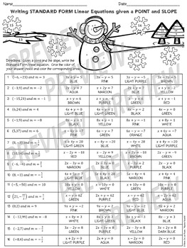 Christmas Algebra: Writing Linear Equations in Standard Form w a Point and Slope