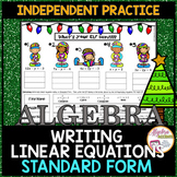 Christmas Algebra: Writing Linear Equations in Standard Form Practice
