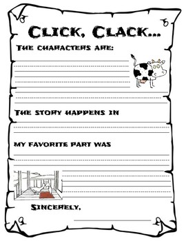 Writing Starters - CLICK, CLACK, AND THE CAT IN THE HAT