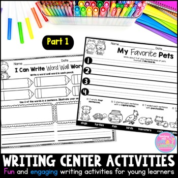 Writing Center Activities for Young Learners {Part 1} Distance Learning Packet