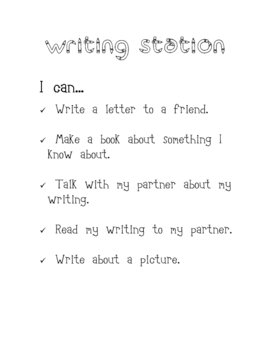 Writing Station- I can...