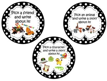 Writing Station Labels and Activities ~ Black and White Polka Dot